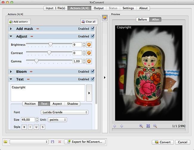 XnConvert MacOSX Screenshot 1