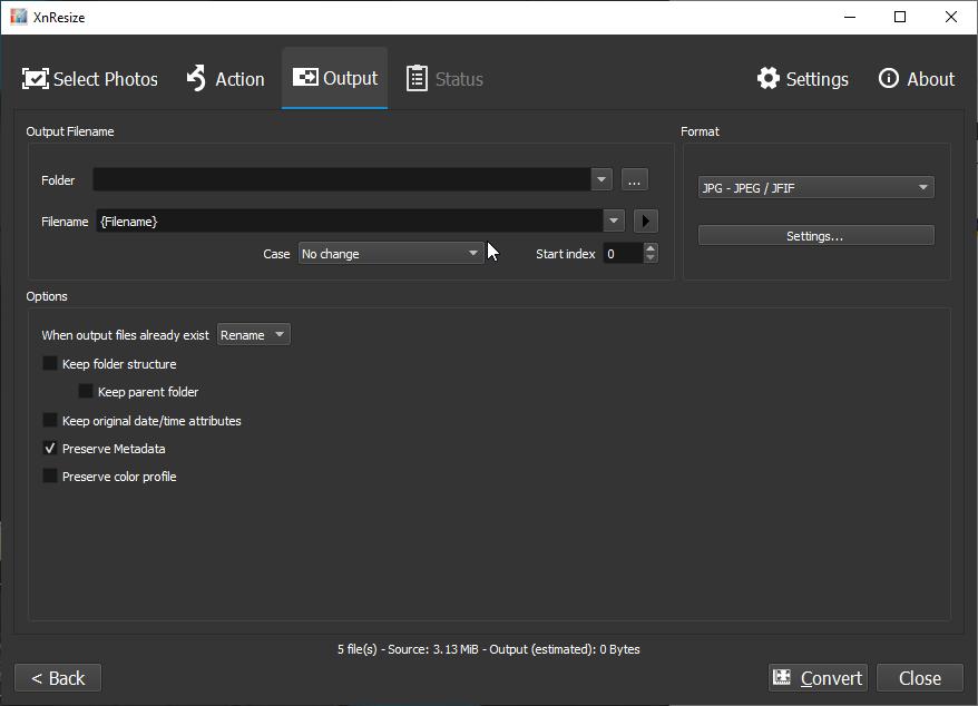XnResize: Output settings